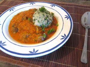 Vegane Spinatknödel, Tomatensuppe, Minestrone